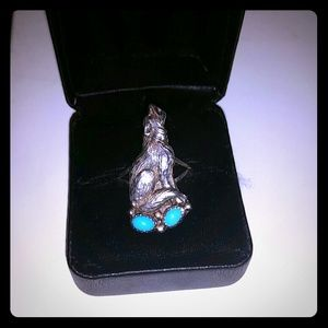 Jewelry - Wolf & Turquoise Sterling Silver 925 ring