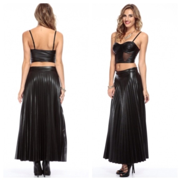 Pleated Faux Black Leather Maxi Skirt M, L from Sheela's closet on ...
