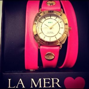 La Mer Neon Pink Wrap Around Watch