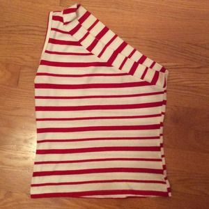 ✨REDUCED✨Red and white striped one shoulder top