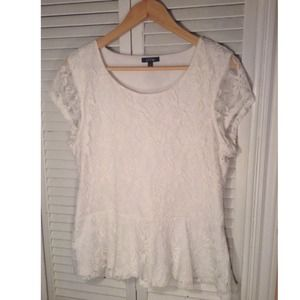 White lace peplum