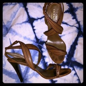 Valentino Stitched Leather Leaf Sandals - Brown