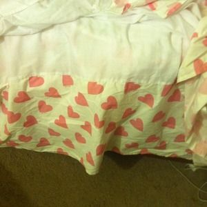 White bed skirt with pink hearts Victoria's Secret