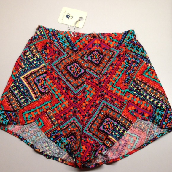 61% off LF Pants - Lf stores Aztec print soft shorts high waisted ...