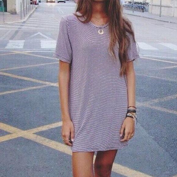 9d3db93ba3b Brandy Melville Maroon Stripe Oversize Shirt Dress