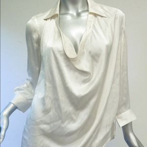 Vince Collared Cowl Neck Blouse in Cream Satin