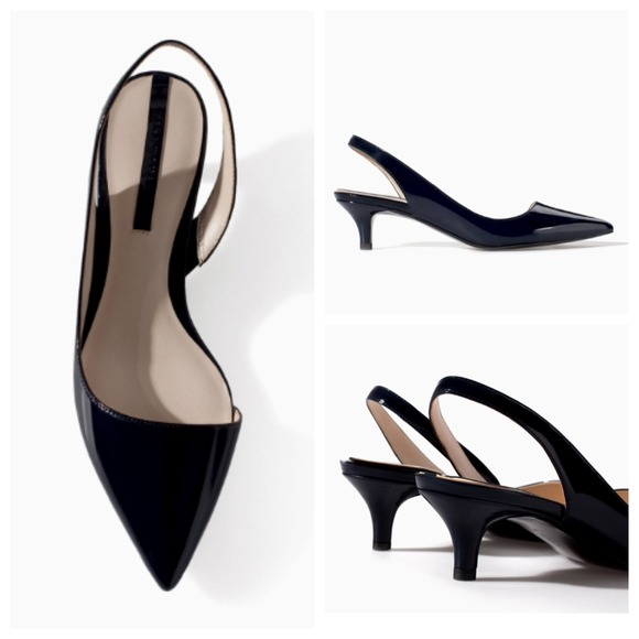 50% off Zara Shoes - Zara Navy Blue Kitten Heels from 🐝's closet ...