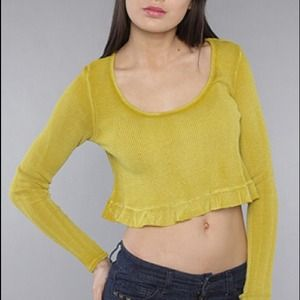 Mustard Thermal Crop Top with Ruffles