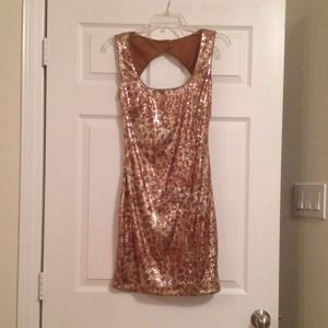 Cache Gold Animal Print Sequin Cocktail Dress Sz 4