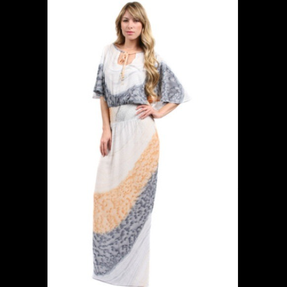 Cape Sleeve Maxi Dress