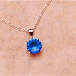 Jewelry - Sterling silver Blue topaz sim diamond pendant
