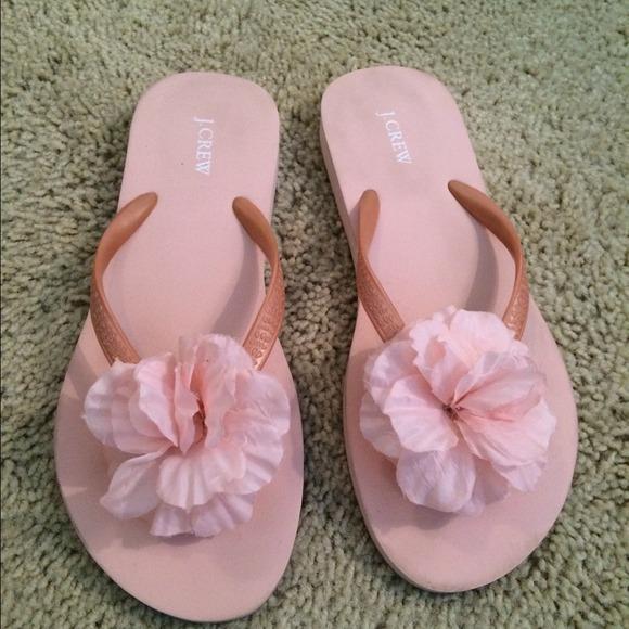 f12d513bcd9e1 J. Crew Shoes - J Crew pink flower flip flops size 7