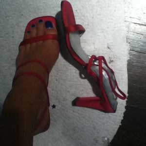 Shoes - Hot pink strappy dressy sandals.