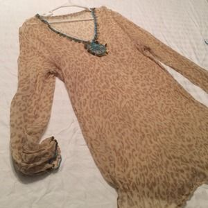 Tan cheetah tunic/cover up