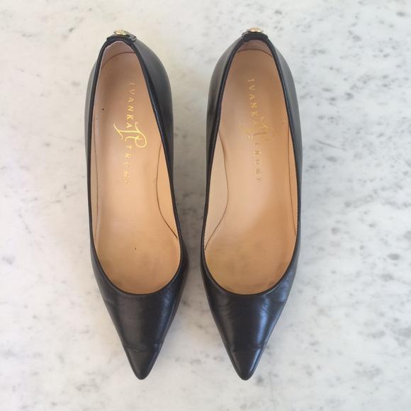 Black Kitten Heel Shoes Size 6