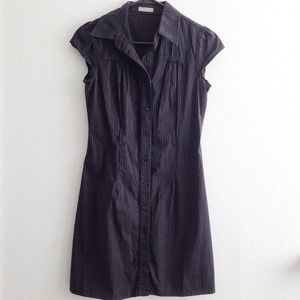 pinstripe buttonup dress