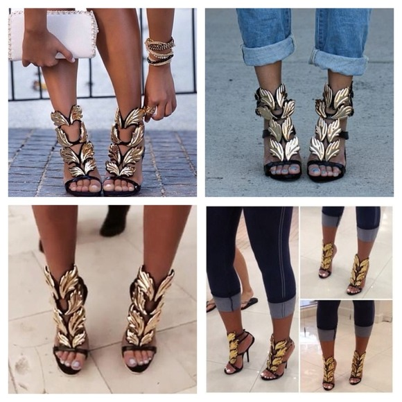 Shoes | Black Gold Angel Wing Flames