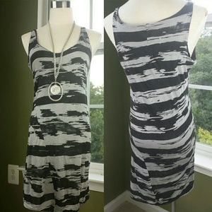 Black and Gray Printed Jersey Dress