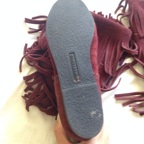 61% off Minnetonka Shoes - Maroon Minnetonka tall fringe boots ...
