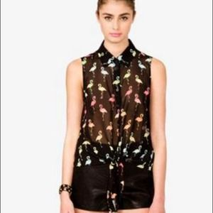 Lowest Price!Forever21 Black Flamingo Top- s