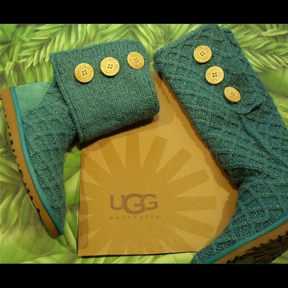 UGG Shoes - Superb UGG Metallic Deep Aqua LATTICE CARDY boots