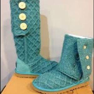 UGG Shoes - Superb UGG Metallic Deep Aqua LATTICE CARDY boots
