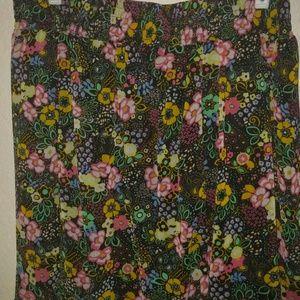 Xhilaration stretchy knee length print skirt xl