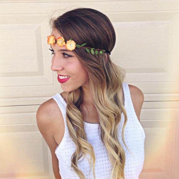 Orange Sunrise Halo Floral Headband OS from Amber's closet ...