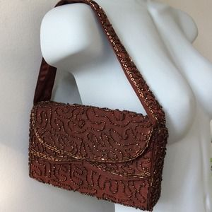 Copper beads on brown satin evening bag
