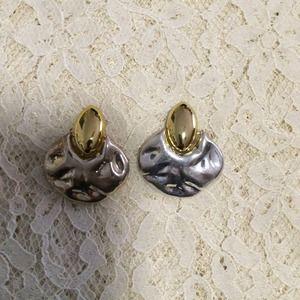 Two-tone clip on earrings