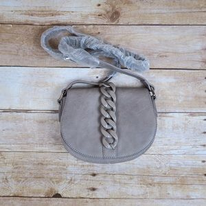 Shoe Dazzle Handbags - Haskell grey structured saddle cross body bag