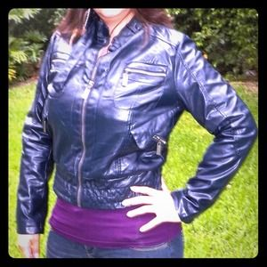 other Jackets & Blazers - Moto blue faux leather biker jacket