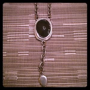 Long silver necklace with onyx like stone