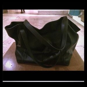 Zara Black leather large shopper tote bag