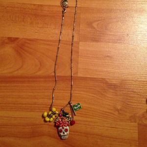 Betsey Johnson Rio Skull and Fruit Necklace
