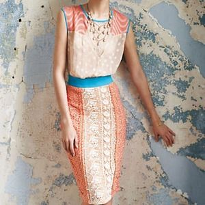 Anthropologie Dresses & Skirts - champagne & strawberries Ephemere lace dress