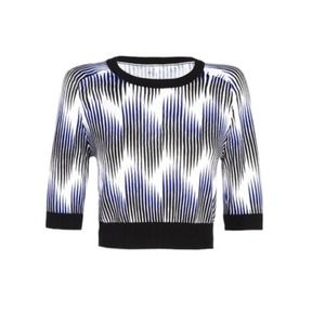 Peter Pilotto Crop Sweater in a Wave Beam Print