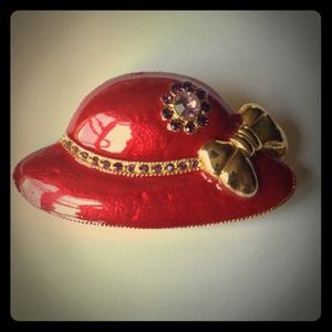 🌟2 for $10🌟 Red Hat pin brooch & scarf ring