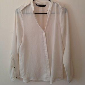 Zara white long sleeves top