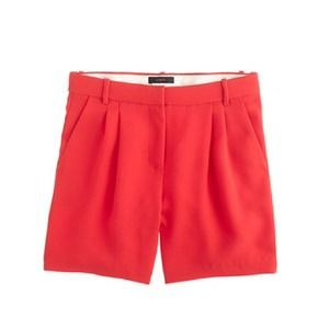 J.Crew Red Pleated Crepe Shorts