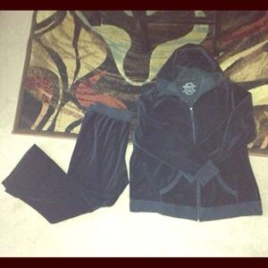 Outerwear - Black Velour Maternity Track Suit Set XL/1X