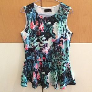 H&M watercolor print peplum top