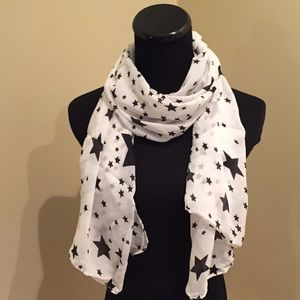 Accessories - NEW Sheer White Scarf with Black Stars
