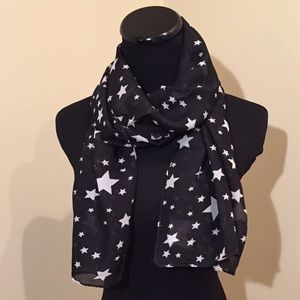 Accessories - NEW Sheer Black Scarf with White Stars