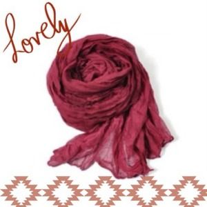 Accessories - NEW Lightweight Sheer Crinkle Scarf in Burgundy
