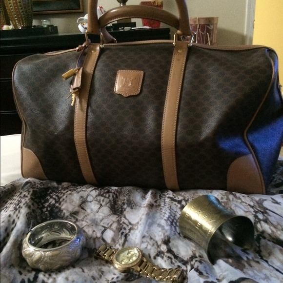 celine brown leather travel bag classic