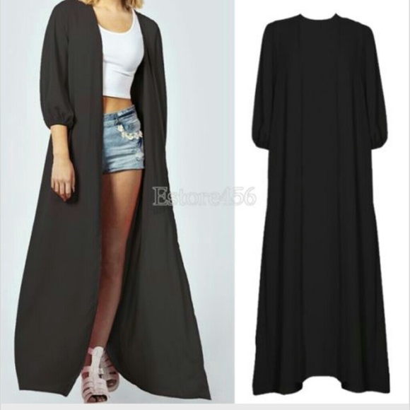 56% off Outerwear - Long black kimono cardigan from Natasha's ...