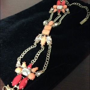 Gold tone with peach and red accent bracelet
