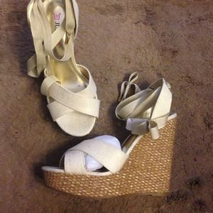 Just fab wedges with lace up ties