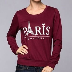 Small burgundy Paris French terry sweater